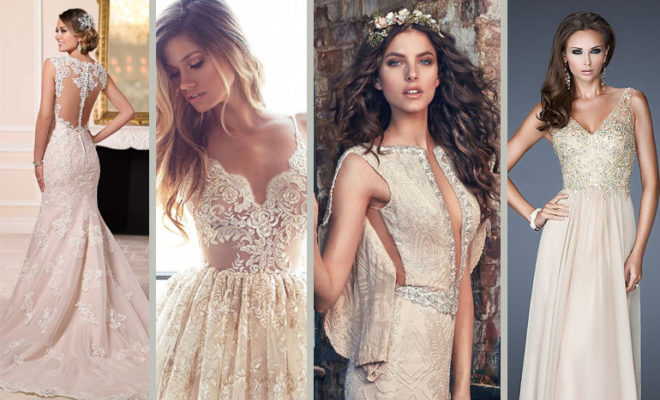 ¡¡El must have de la temporada!!: Vestido de novia color nude.