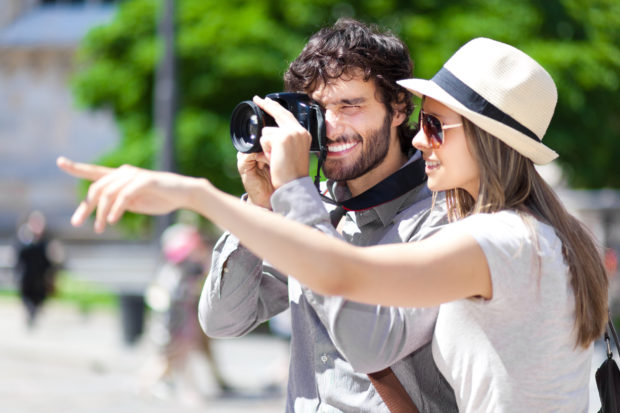 Tourists taking a photo