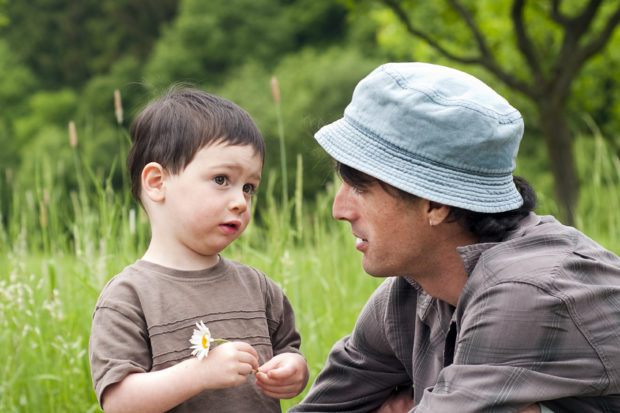Father with toddler son talking on a green summer meadow.