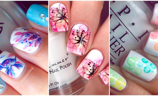 Prueba estos manicures de acuarela para darle un toque artístico a tus uñas