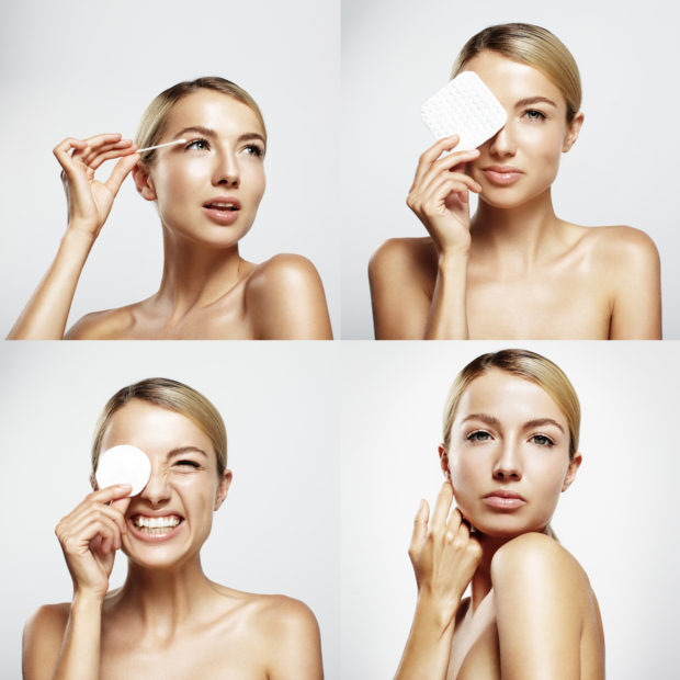 set with a four portraits of a pretty woman, cleansing her skin and make it fun
