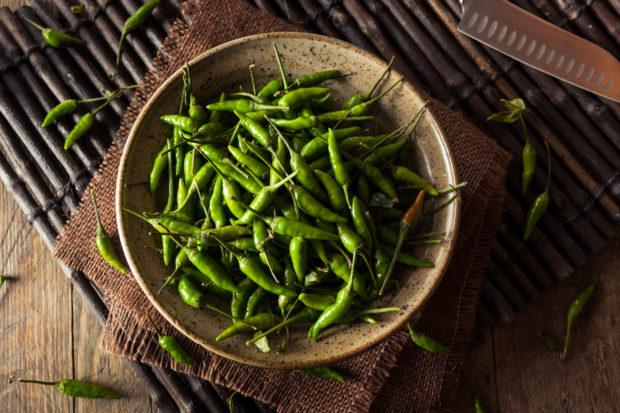 Hot Green Thai Chili Pepper in a Bowl