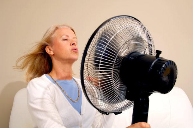 Frau kühlt sich mit einem Ventilator ab Woman with Hot F lushes Model-Released