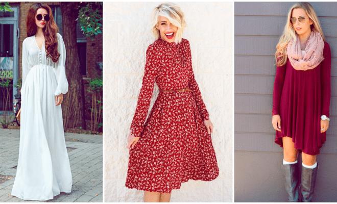 Combina tu vestido de manga larga para estar a la moda
