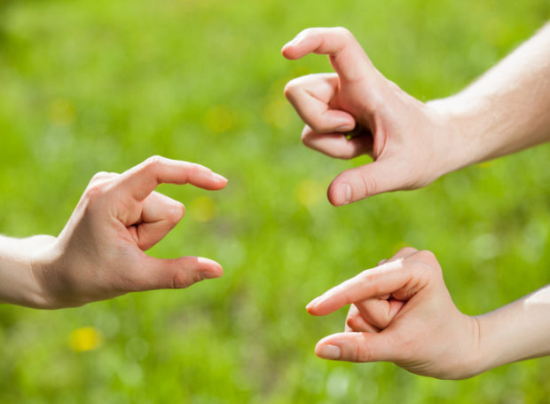 Hands showing different sizes - from small to big, natural green background