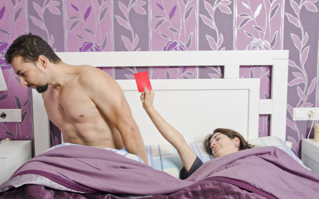 Conceptual image , woman with red card. Concept of sex rejection or menstruation.