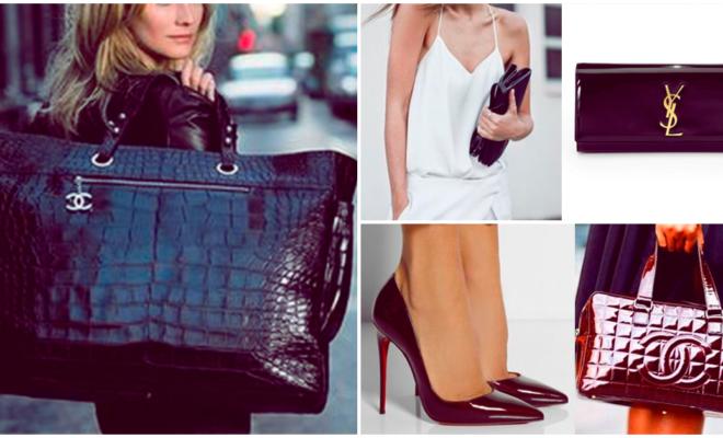 Cómo llevar bolsos y zapatos de charol