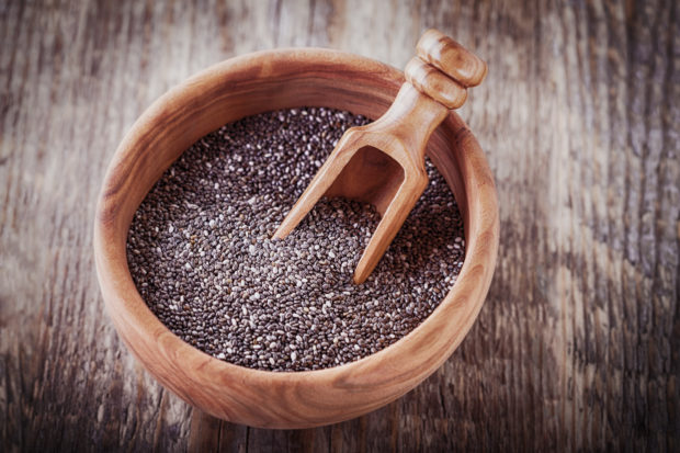 Chia Seeds on a wooden table