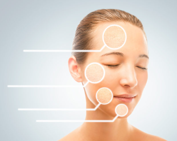 Portrait of young woman with dry problem skin, skincare concept
