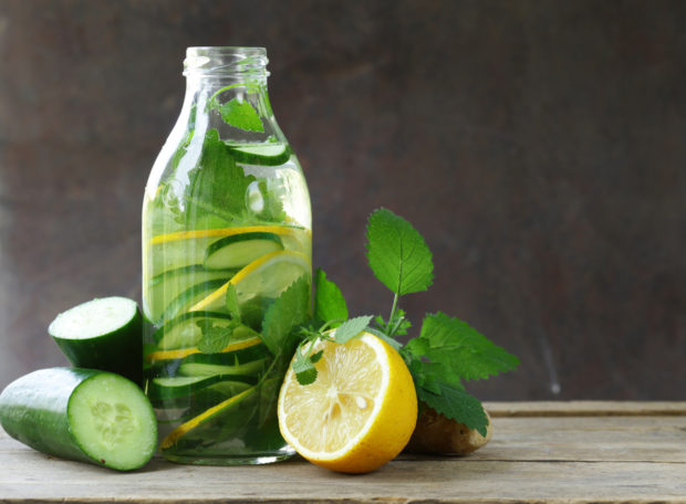 detox drink with fresh cucumber, lemon and ginger, healthy eating and diet