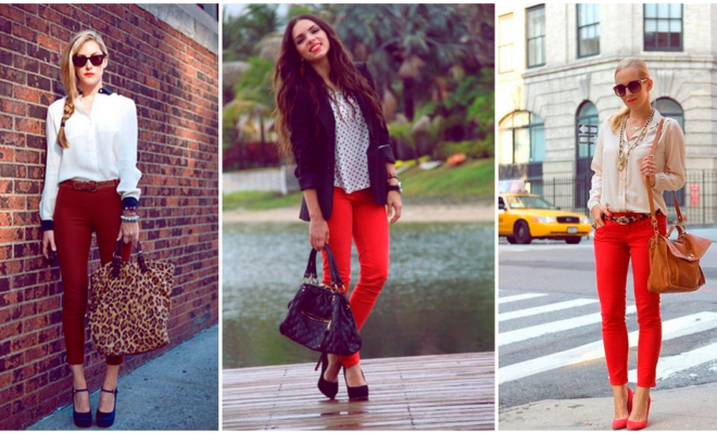 Combina tus pantalones rojos y luce bellísima