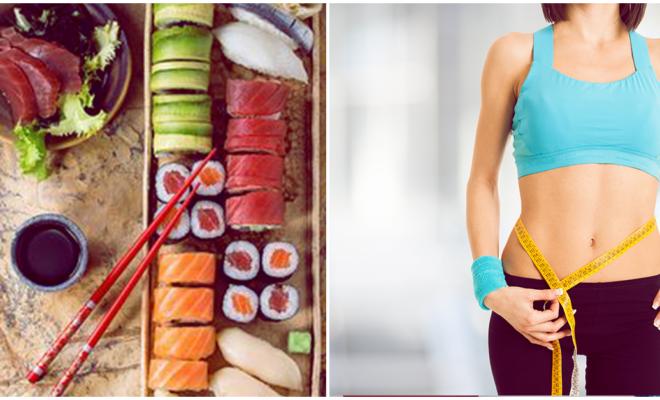 Baja de peso comiendo sushi