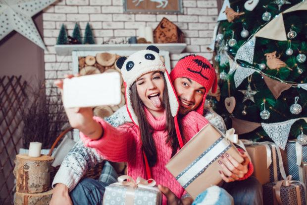 foto selfie navidad pareja