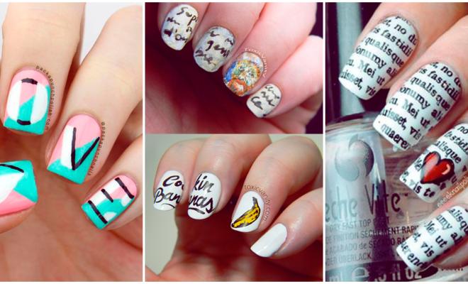 Hermosas uñas tipográficas