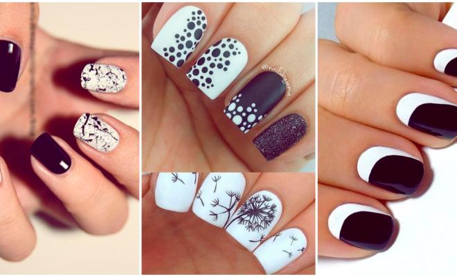 Diseños de uñas para las amantes del negro y blanco