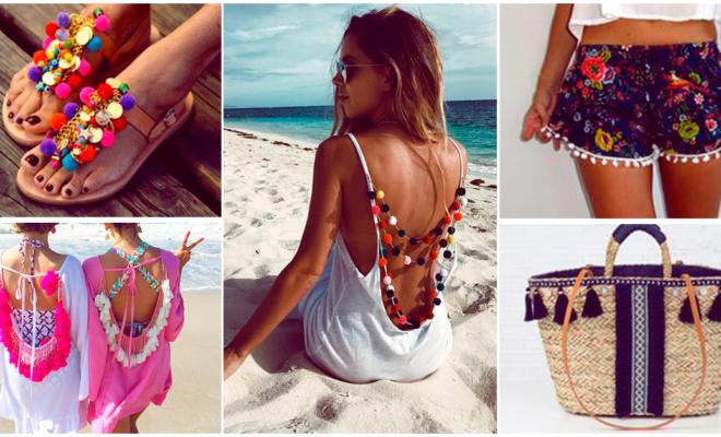 Hermosas prendas con borlas para la playa