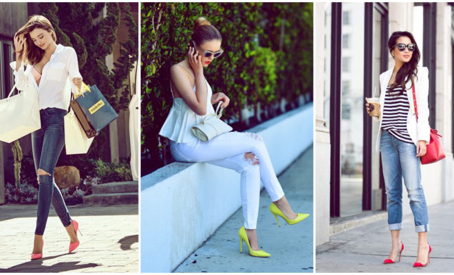 Outfits con stilettos de colores para las chicas que aman lucir sexy en la ciudad