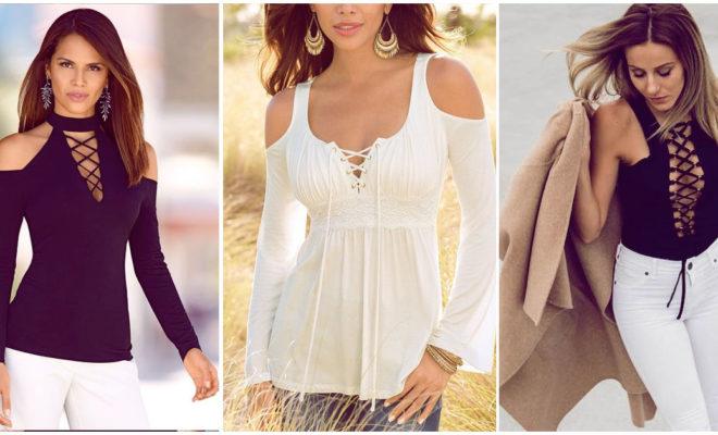 Blusas lace up para lucir en días de calor