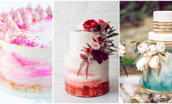 Y tú, ¿ya sabes cómo decorar tu pastel de bodas?, mira los pasteles acuarela, ¡increíbles!