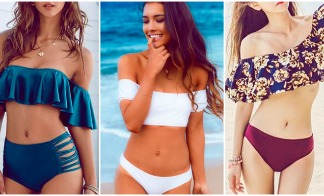 Hermosos trajes de baño off shoulder que querrás lucir en la playa