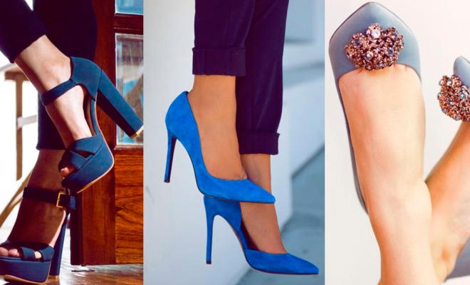 Hermosos zapatos azules para una ocasión formal