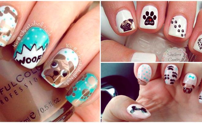 Diseños de uñas para las amantes de los pugs