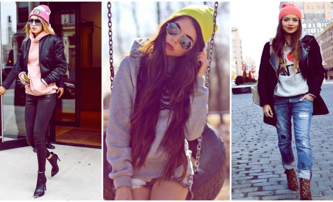 Tu outfit de invierno necesita un hoodie y un gorrito