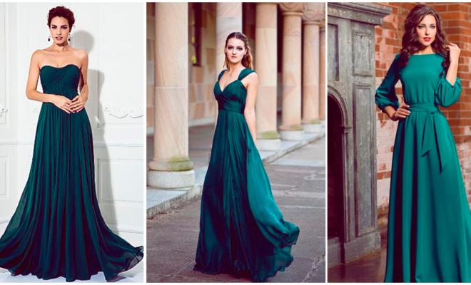 Vestidos de gala color esmeralda que te encantarán
