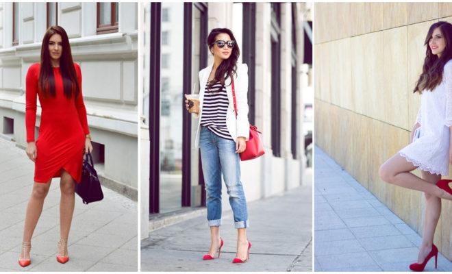 Outfits perfectos con tacones rojos para lucir a la moda