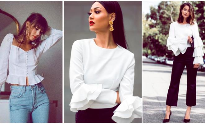 Blusas blancas con holanes: cómo combinarlas sin lucir como tu abue