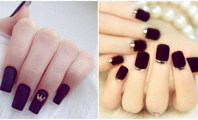 Uñas negras con toques dorados