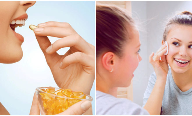 Suero de vitamina E para embellecer el rostro por las noches
