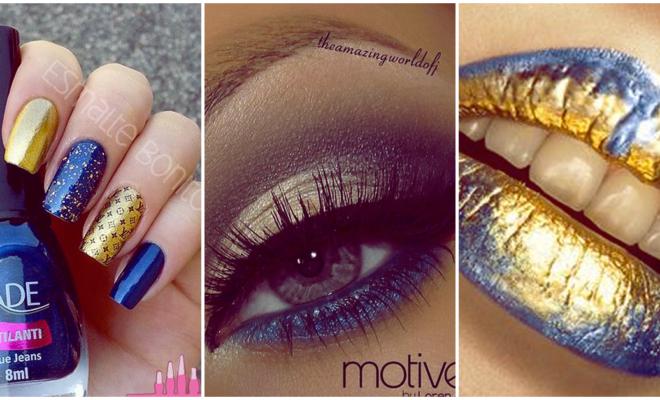Makeup en tonos azules y dorados para el verano
