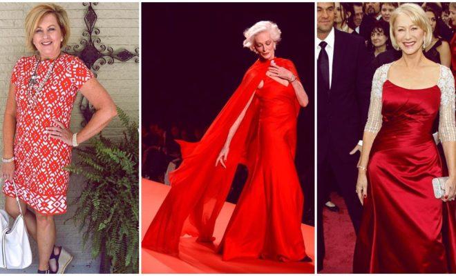 Cómo usar un vestido rojo a tus 60