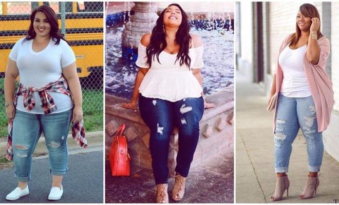 Ideas geniales para combinar tus jeans rasgados si eres una chica curvy