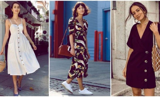 Ideas para usar vestidos con botones al frente