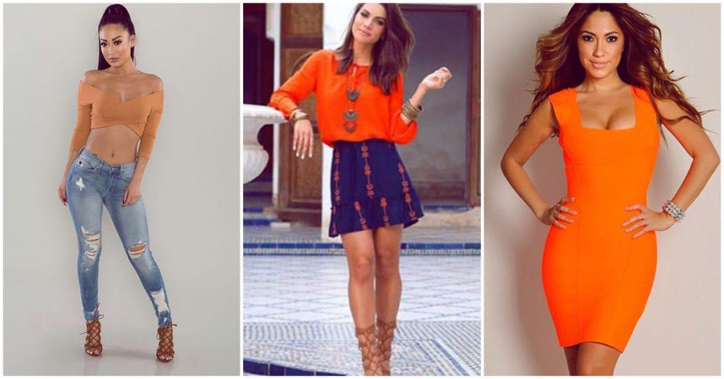 Outfit naranja super sexy para este Día de Muertos