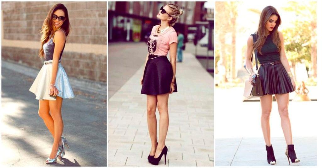 Crea outfits muy sexys y femeninos con falda skater
