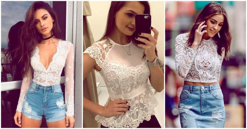 Cómo armar diferentes outfits con la misma blusa de encaje