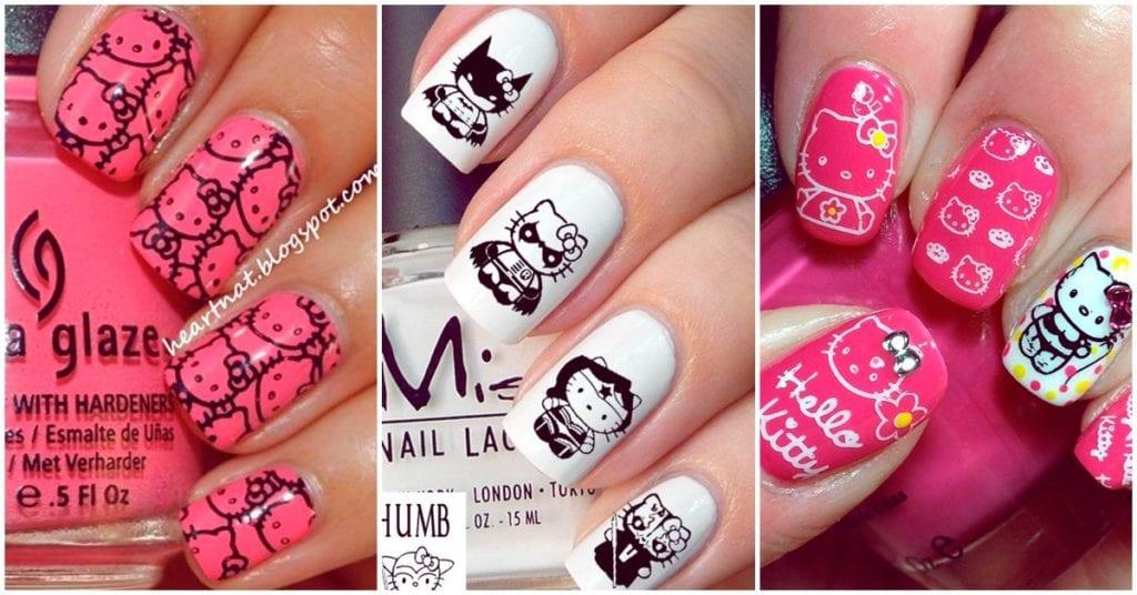 Diseños super cute de Hello Kitty para tu manicura