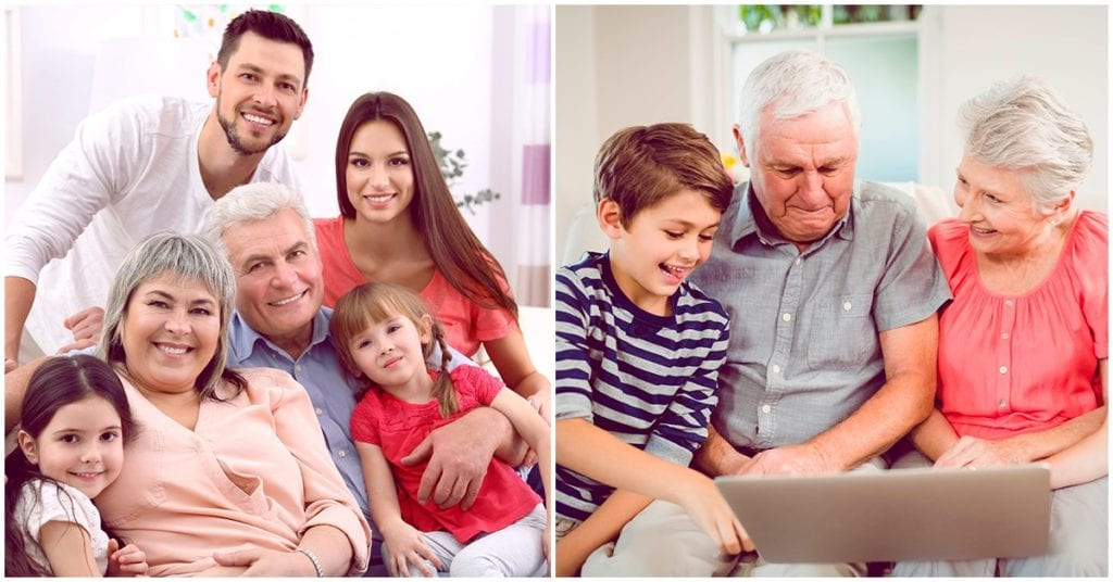 Abuelos cuidando a los nietos, un beneficio para los dos
