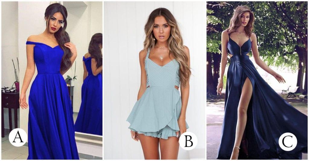 Un vestido azul según la ocasión