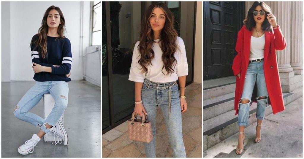 Outfits sencillos y bonitos con pantalones de mezclilla