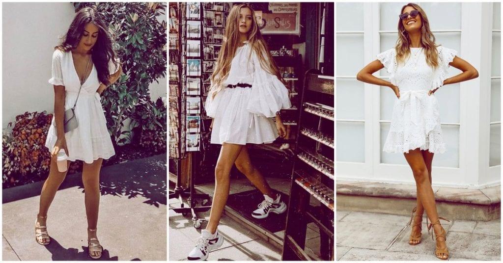 Diferentes formas de usar un vestido blanco durante el día