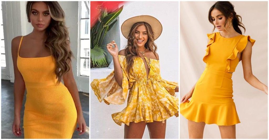 Vestidos amarillos, ideales para chicas morenitas