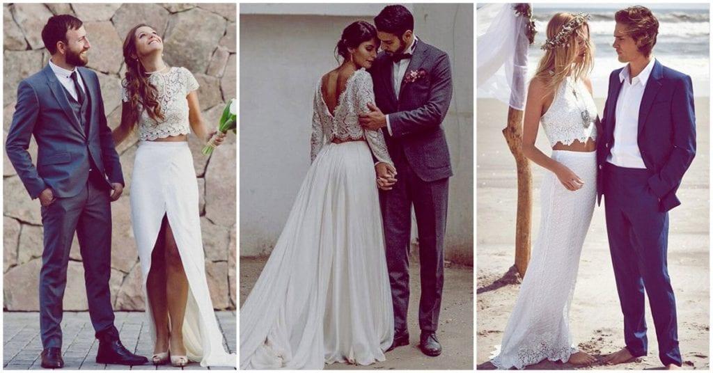 Outfits de dos piezas para las futuras novias