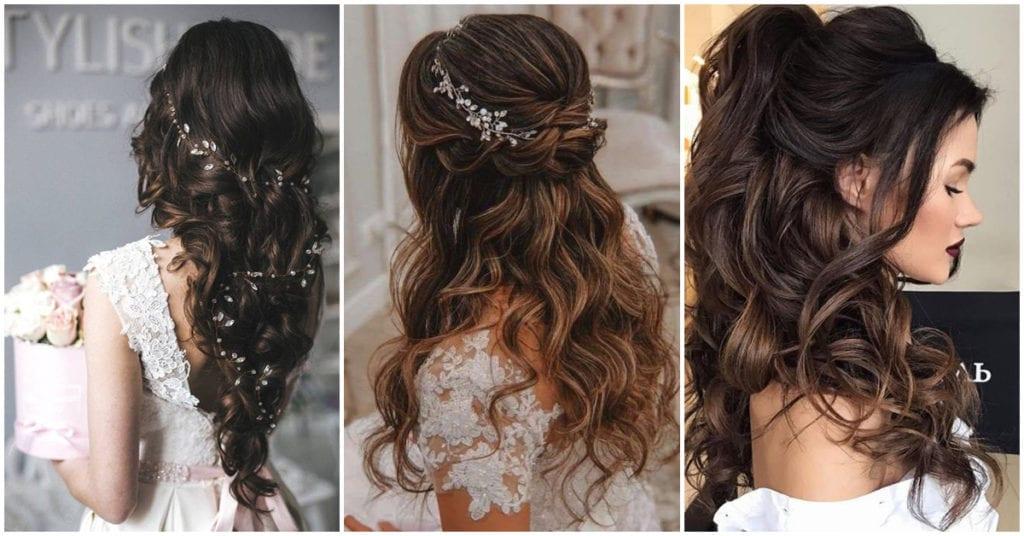 Peinados semirecogidos para las novias de invierno
