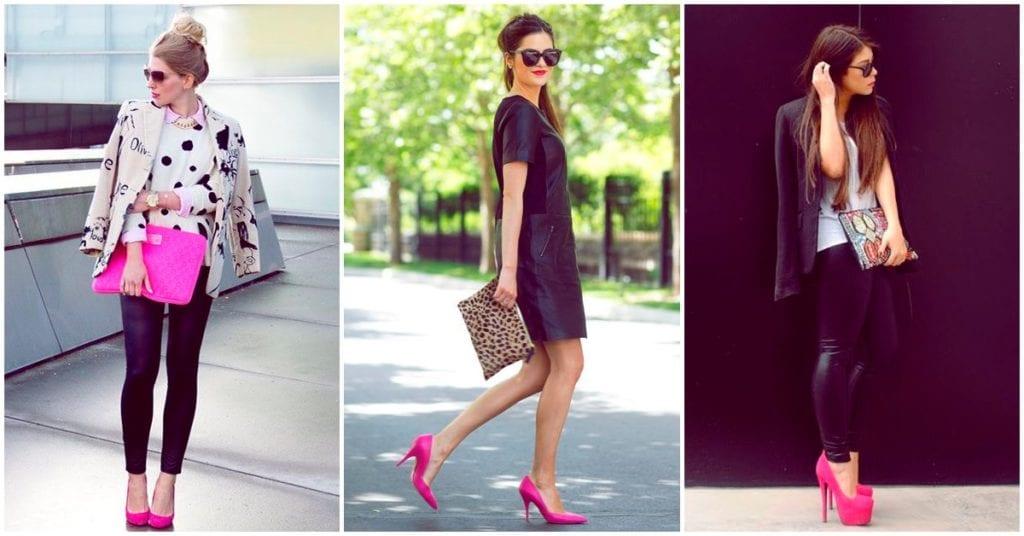 Diferentes outfits con algo en común: un par de tacones rosas