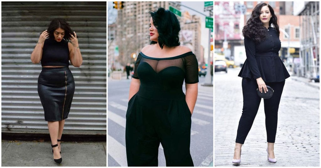 Outfits total black para chicas curvy
