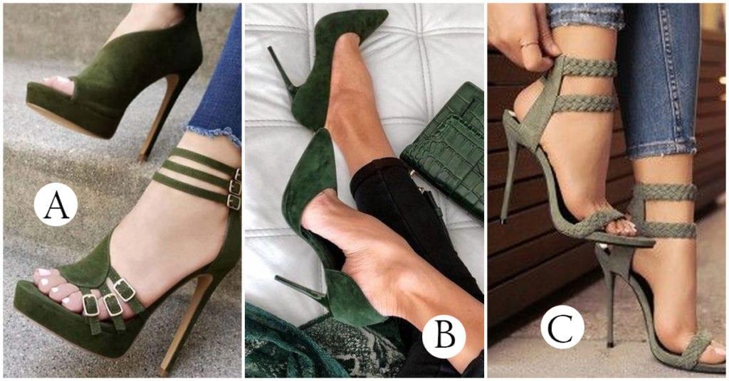 Tacones verde militar para completar tus outfits